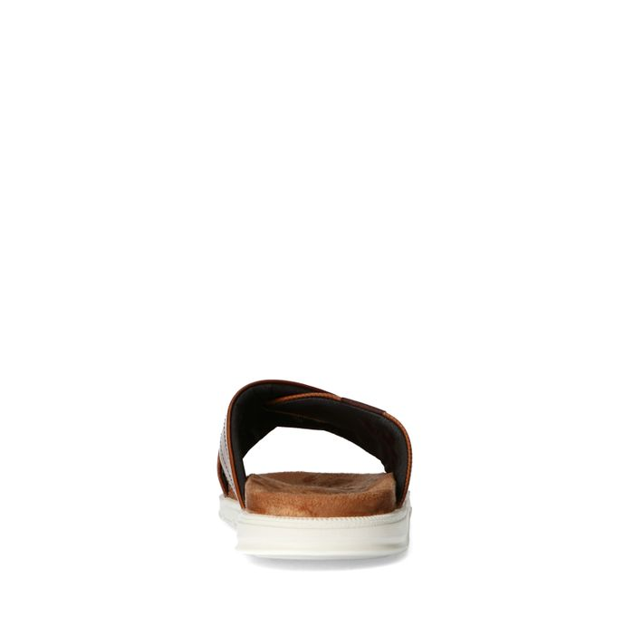Cognac slippers met gekruiste banden