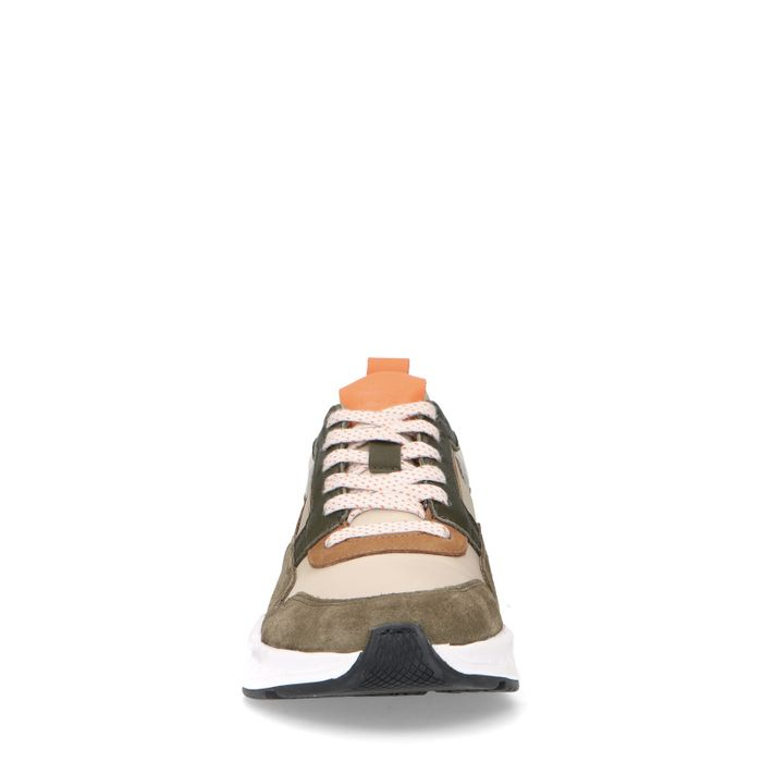Groene sneakers met gekleurde details