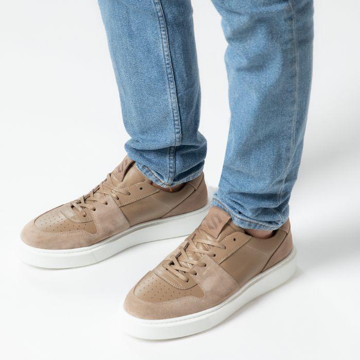 Beige leren sneakers