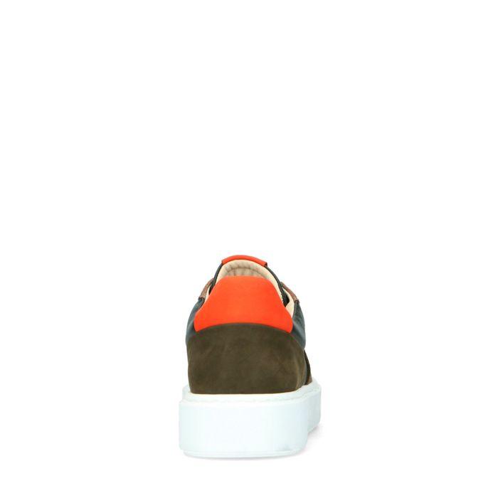 Groene leren sneakers met oranje details
