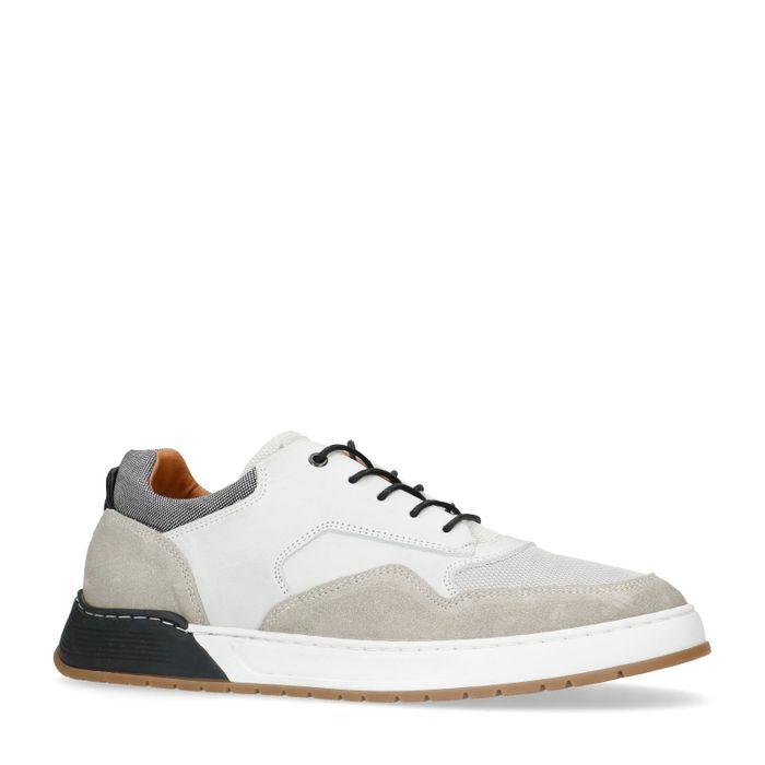 Grijze leer met suède sneakers