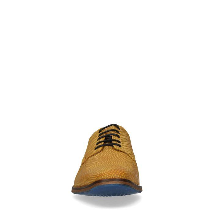 Gele veterschoenen met crocoprint