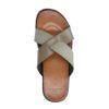 Grijze leren slippers met gekruiste banden