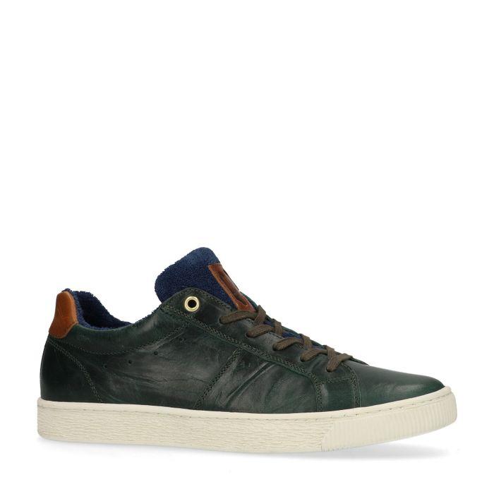 Donkergroene lage sneakers met blauw detail