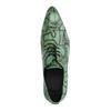 Groene leren veterschoenen met snakeskin
