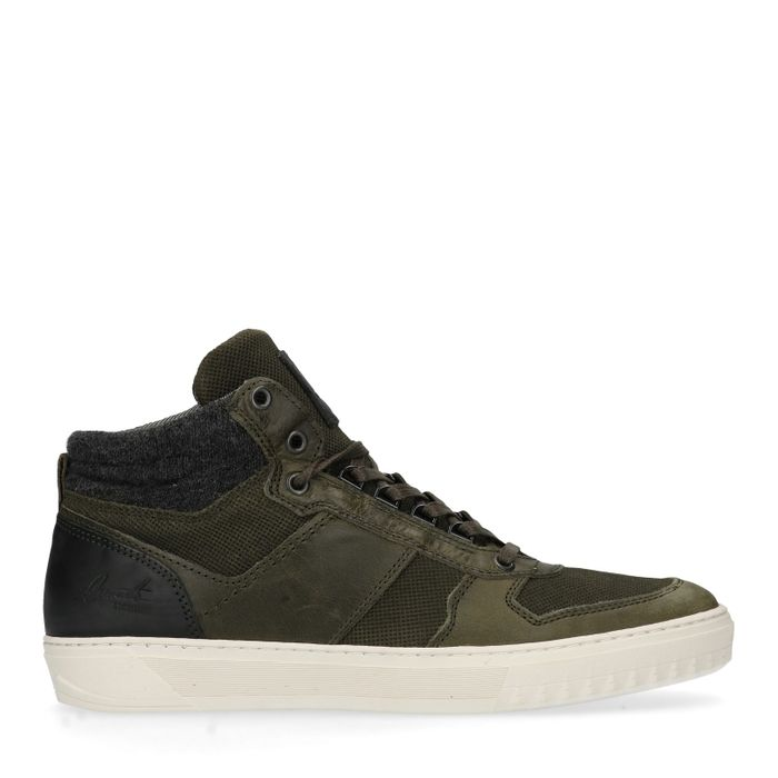 Groene leren hoge sneakers