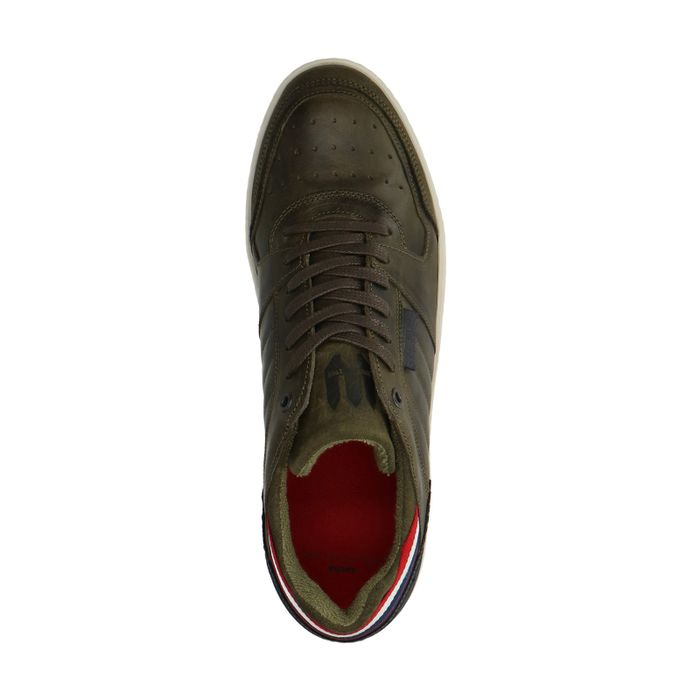 Groene leren sneakers met gekleurde details