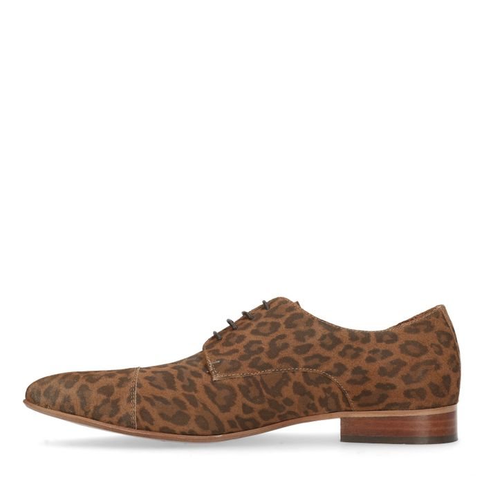 Bruine veterschoenen met luipaard print