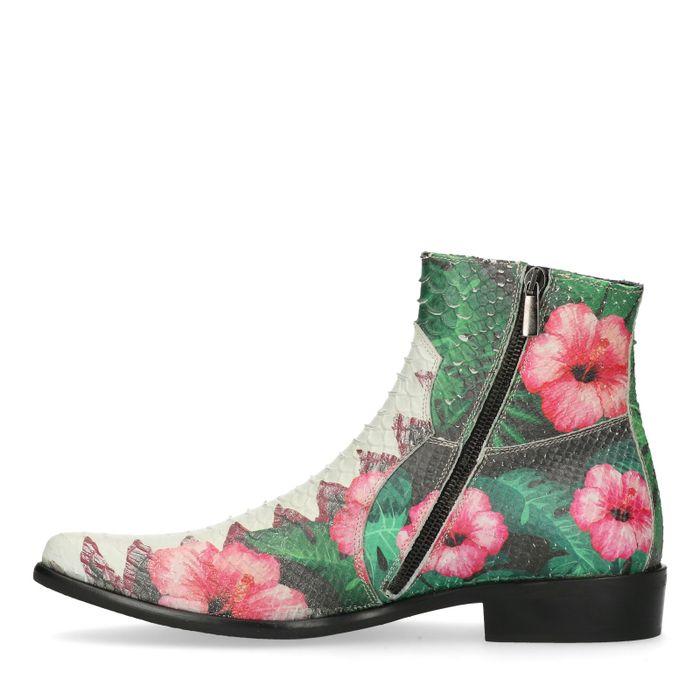 Lage boots met bloemenprint
