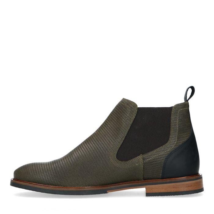 Olijfgroene leren chelsea boots