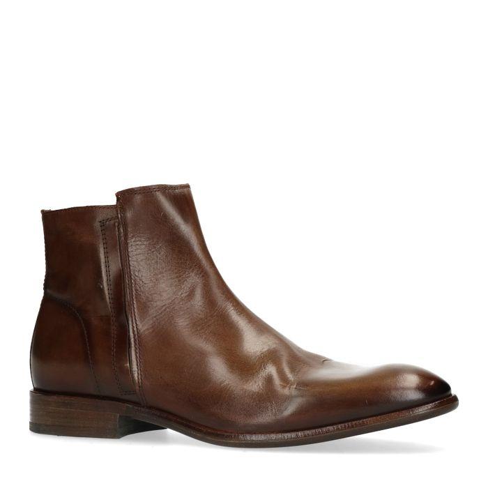 Bruine lage boots van leer