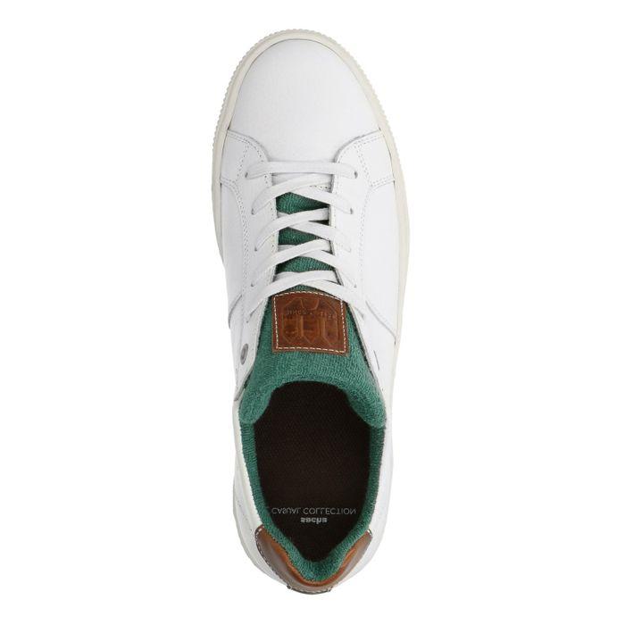Witte sneakers met groen detail