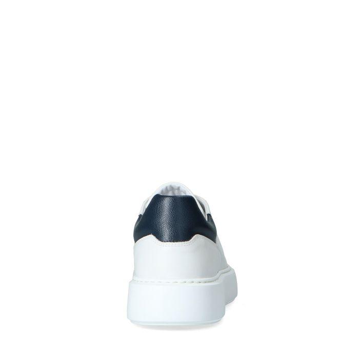 Witte leren sneakers met blauw detail