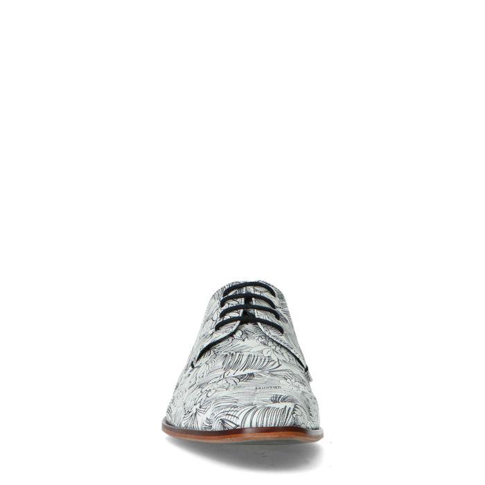 Leren veterschoenen in zwart-wit print