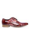 Rode veterschoenen met croco print