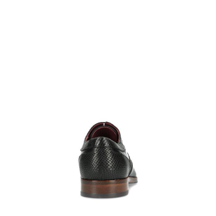 Zwarte veterschoenen met snakeskin