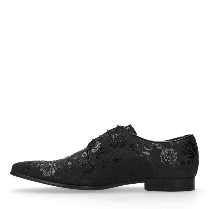 Zwarte veterschoen met bloemenprint