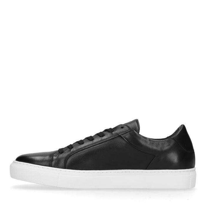 Zwarte leren lage sneakers