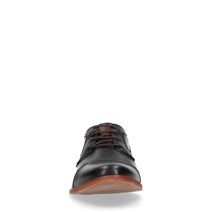 Zwarte leren casual veterschoenen