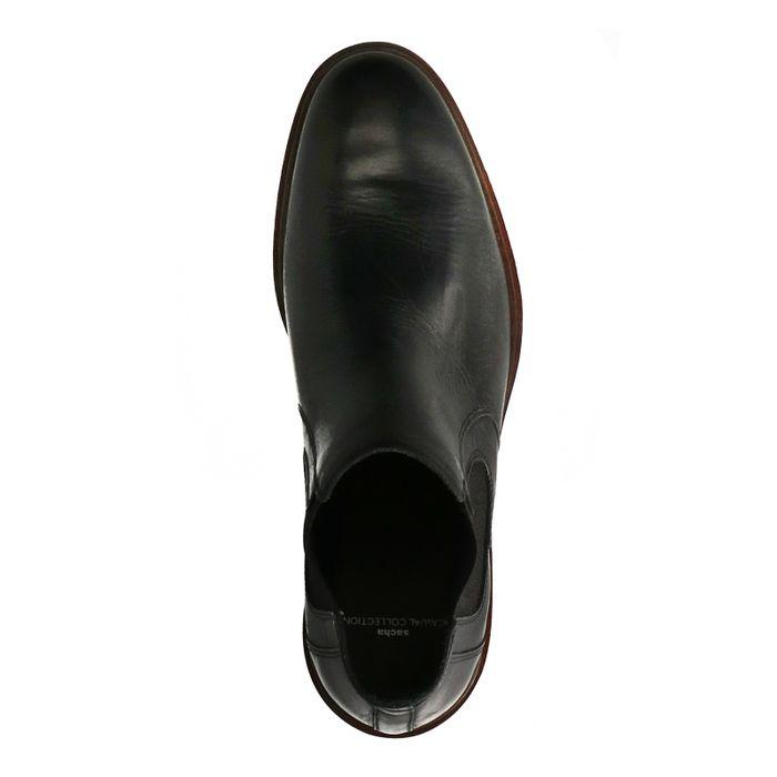 Zwarte chelsea boots met donkerbruine zool