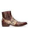 Bruine western boots met snakeskin print
