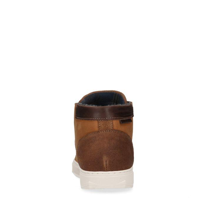 Cognac hoge sneakers met imitatiebont