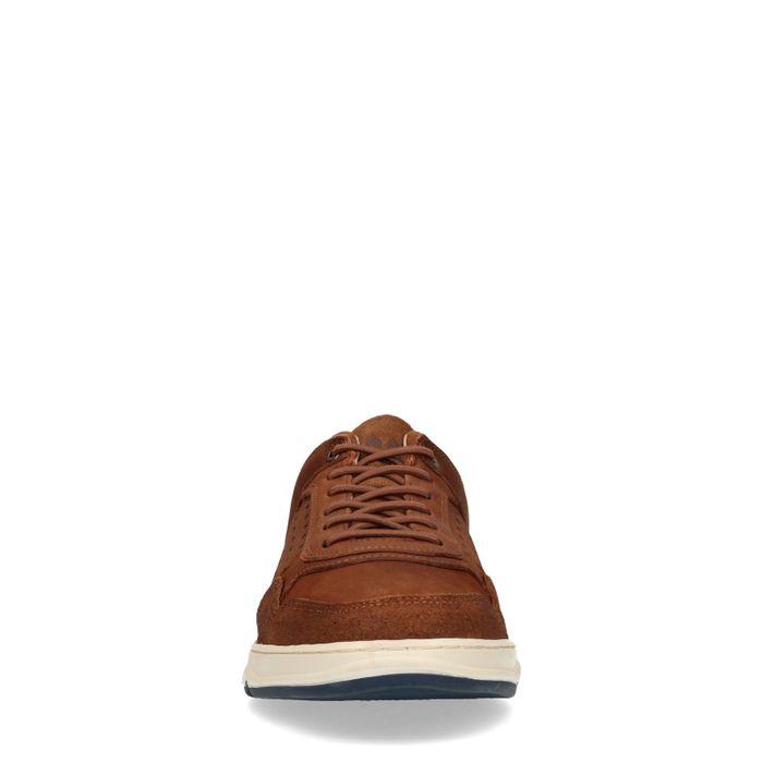 Cognac nubuck lage sneakers