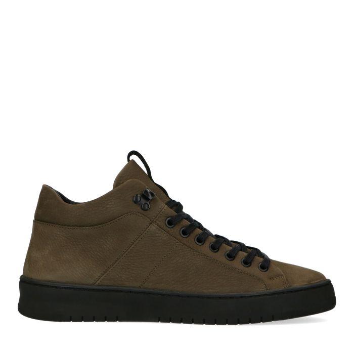 Olijfgroene hoge sneakers
