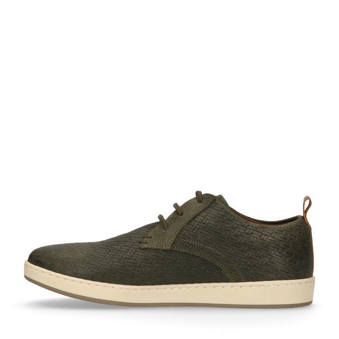 Groene lage sneakers met gewoven details