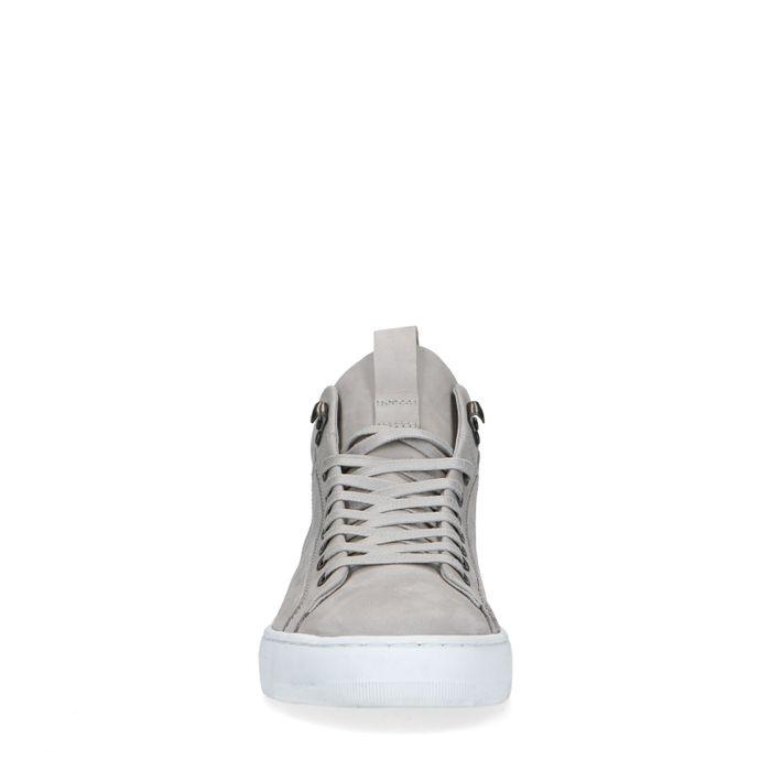 Lichtgrijze hoge nubuck sneakers