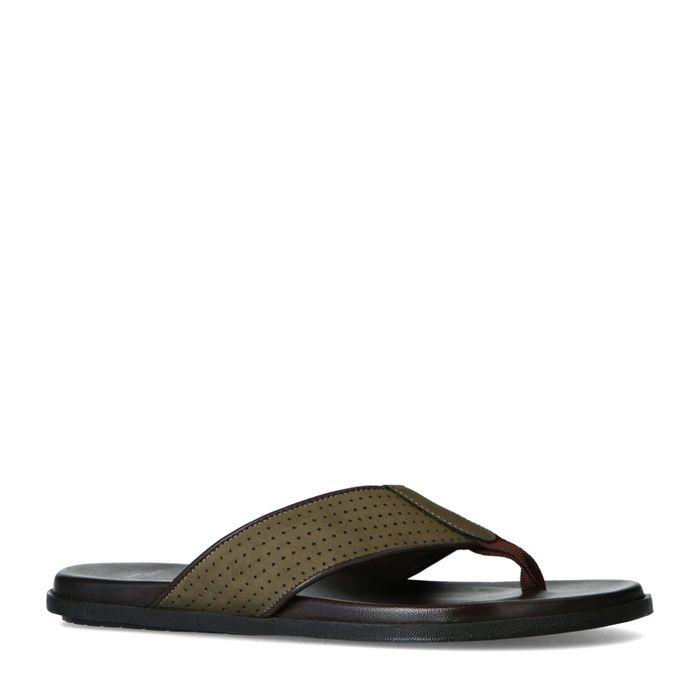 Olijfgroene nubuck slippers