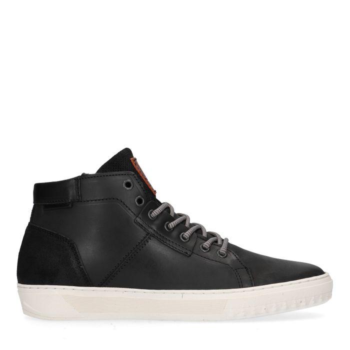 Zwarte hoge sneakers met imitatiebont