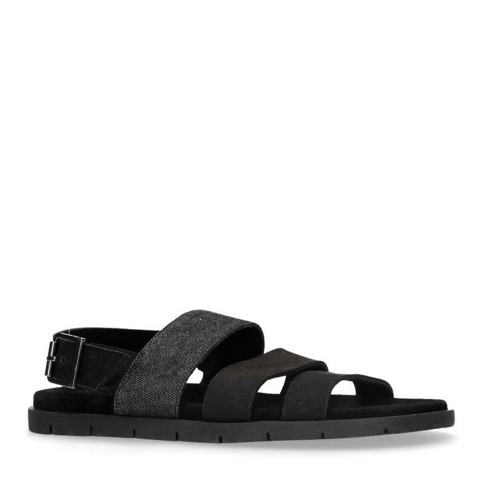 Zwarte nubuck sandalen
