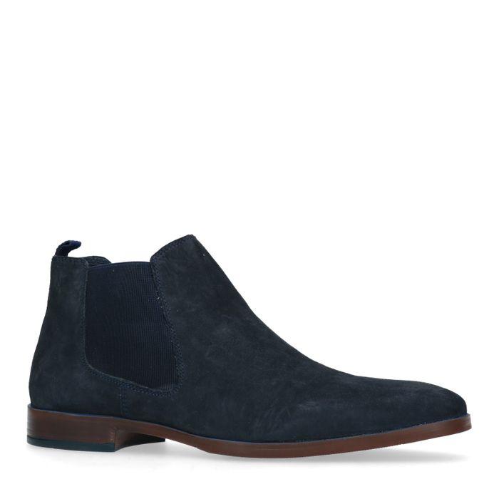 Blauwe suède chelsea boots