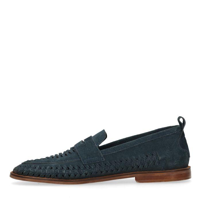 Blauwe gevlochten suède loafers
