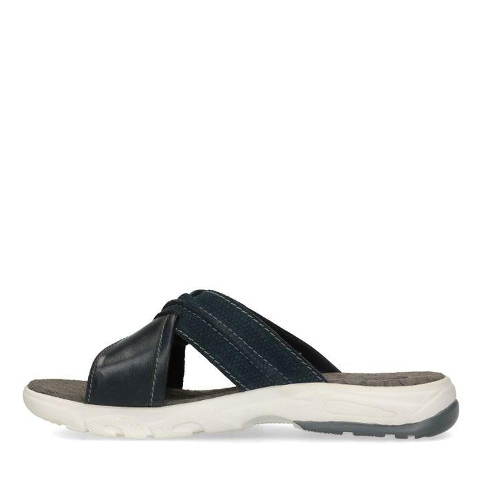 Donkerblauwe slippers met gekruiste banden