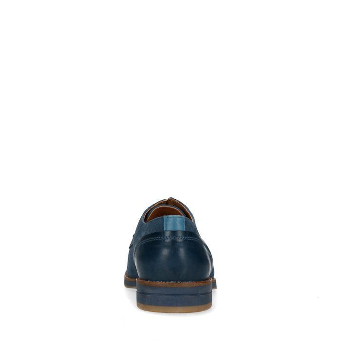 Blauwe veterschoenen met motiefje