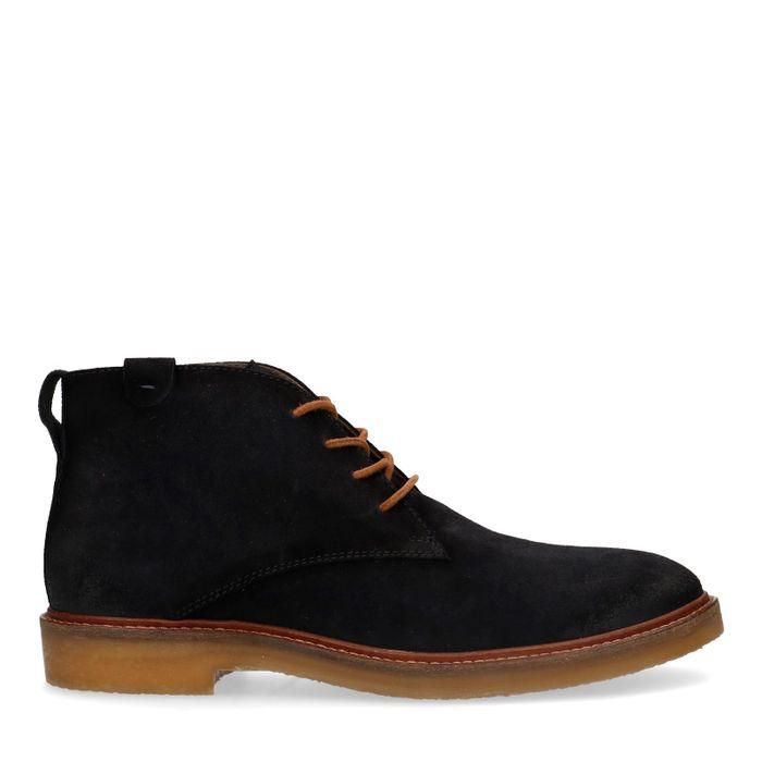 Donkerblauwe suède desert boots