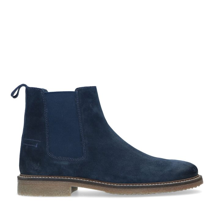 Donkerblauwe suède chelsea boots