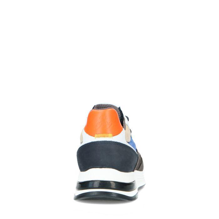 Multicolored suède sneakers met blauwe details