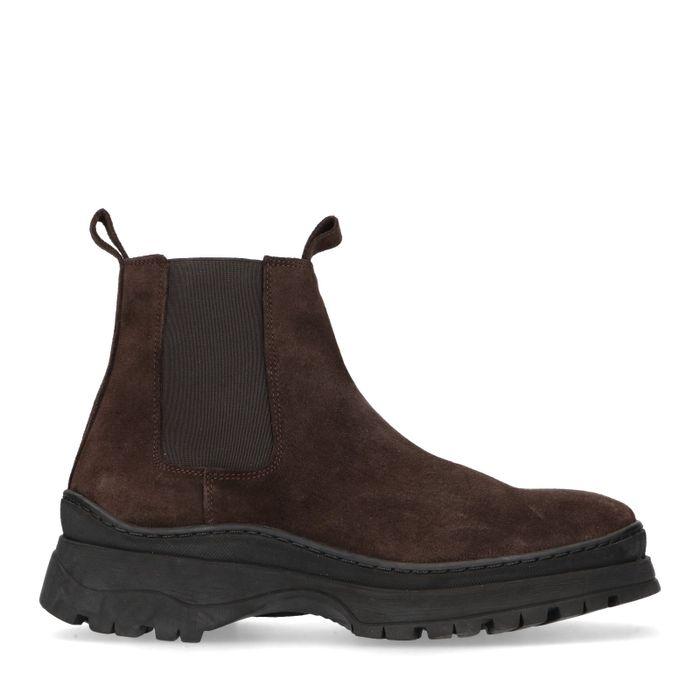 Donkerbruine suède chelsea boots