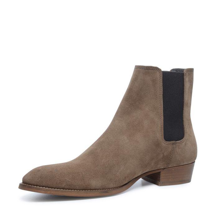Camel chelsea boots met spitse neus