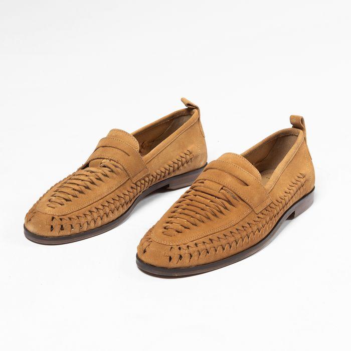 Bruine gevlochten suède loafers