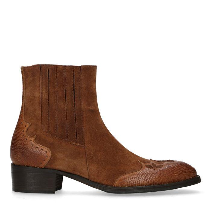 Cognac suède western boots