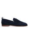 Donkerblauwe suède loafers met gevlochten detail