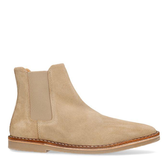 Beige suède chelsea boots