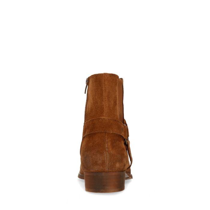 Cognac chelsea boots met buckle