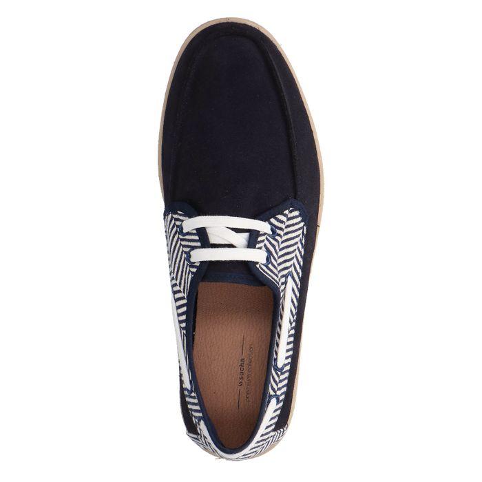 Donkerblauwe lage sneakers met touwzool