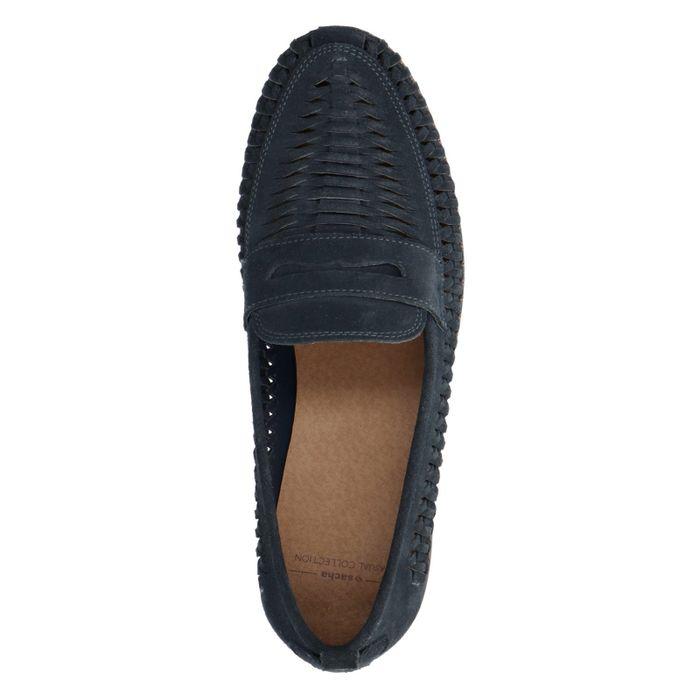 Donkerblauwe loafers met opengewerkte details