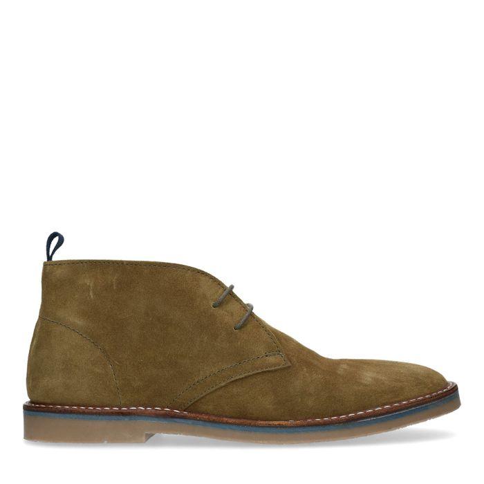 Donkergroene suède desert boots